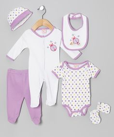 Take+a+look+at+the+Sweet+&+Soft+Purple+Ladybug+Six-Piece+Layette+Set+-+Infant+on+#zulily+today!