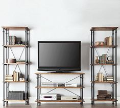 TRIBECCA HOME Myra Vintage Industrial Modern Rustic 3-piece TV Stand Set - Media Console and Tall Bookshelves Contemporary Rustic Living Room Furniture Tribecca Home http://www.amazon.com/dp/B00UTK67ZI/ref=cm_sw_r_pi_dp_mgqsvb0PHSCNN