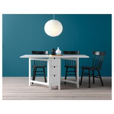 Bright and white, this Norden Gateleg Table will blend in nicely with any existing kitchen furniture. Ikea Norden Table, Norden Gateleg Table, Table Extensible, Ikea Kitchen Furniture, Ikea Canada, Paint Drop, Painted Drawers, Small Space Solutions, Under The Table