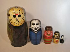 Hand Painted Horror Series Russian Nesting Dolls by PrettiesForYouShop, $65.00 #horror #horrordoll #horrorart