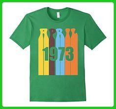 Mens Groovy Retro April 1973 Birthday T-Shirt Large Grass - Retro shirts (*Amazon Partner-Link)