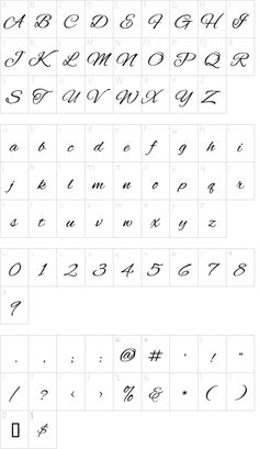 Alex Brush font character map