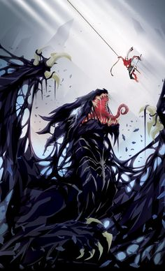 Spider-Man vs Venom: Peter & The Dragon Venom Comics, Marvel Venom, Marvel Comics Art, Marvel Heroes, Marvel Characters, Amazing Spiderman, All Spiderman, Venom Spiderman, Fantasy Creatures