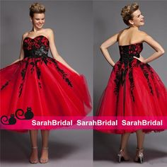Trendy Wedding Dresses 2016 Red And Gothic Black Lace Halloween Wedding Dresses Ideas Unique Vintage Design Tea Length Colored Corset Bridal Masquerade Ball Gowns Wedding Dresses Cheap Online From Sarahbridal, $102.73| Dhgate.Com