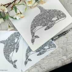 I've made my zentangle whale into stickers and printables! Check them out at the link in the bio!