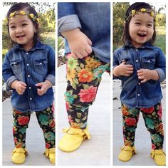 Get ready for fall with these adorable floral leggings. Pair them up with our black pocket tee and your fav boots and your look will be complete! Adorable and fashionable.