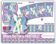 Super Party Kit Princess Celestia My Little Pony por Printnfun, €18.00 #mylittlepony #princesscelestia #partyprintables #invitations #unicorn