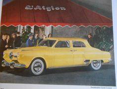 =-=1950 Car AD yellow Studebaker Land Cruiser original automobile advertisement