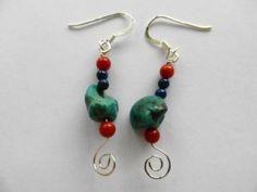 Genuine turquoise, southwesern style, dangle earrings, handmade earrings by JosiannesJewelry for $14.00