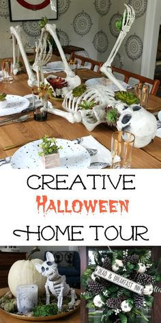 Creative Halloween Home Tour - simple Halloween decorating ideas like this skeleton centerpiece adorned in succulents from World Market Diy Halloween, Halloween Mignon, Table Halloween, Fairy Halloween Costumes, Easy Halloween Decorations, Halloween Party Supplies, Halloween Home Decor, Outdoor Halloween, Holidays Halloween