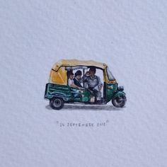 Day 268 : दिल्ली में परिवहन के मोड. 27 x 17 mm. #365paintingsforants #miniature #watercolour #delhi #auto