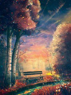 Diamond Painting Autumn Forest Bench Paint with Diamonds Art Crystal Craft Decor Fantasy Landscape, Landscape Art, Japon Illustration, Anime Scenery, Pretty Art, Belle Photo, Wallpaper Backgrounds, Amazing Art, Cool Art