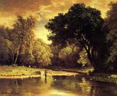 George Inness (1825-1894) - Fisherman in a Stream