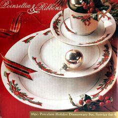 NIB Tienshan Poinsettia & Ribbon Christmas Dinnerware Set 16 pcs Porcelain China #Tienshan