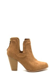 Top Notch Faux Suede Booties CAMEL