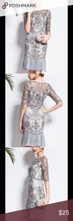 Grey embroidered dinner/cocktail dress Tag reads size large however that is not US sizing. US size is a small/US Size 4, Shoulder:15, Bust:36.2, Waist:33.1, Hip:37, Sleeve Length:14.6, Length:37.8. (In inches).      Process: Embroidered Material: Polyester Pattern Type: Floral Sleeve Length: Half sleeve Style: Elegant Occasion: Cocktail,Party Neckline: Crew Neck Silhouette: Sheath Elasticity: Slightly stretchy Thickness: Lightweight Theme: Summer/ holiday Color: Gray Size: L Composition: Shell: 100% Polyester; Camis : 100% Polyester nexiia Dresses Mini