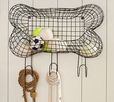 """$49 Wire Bone Storage 19""""wide x 7.5""""d x 16.5""""high steel w/ rustic bronze finish mounting hardware included.  (has edge so you can throw toys inside & they mostly will stay - or place on the ground so pet can put their own treats away like mine does :)"""