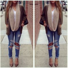 Scarf & ripped jeans