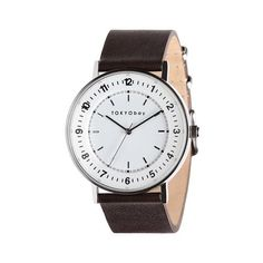 Infinity 43mm watch by TOKYObay. Full number dial with dimension, Slim brown Italian leather strap. Elegant fashion watch style for him or her.