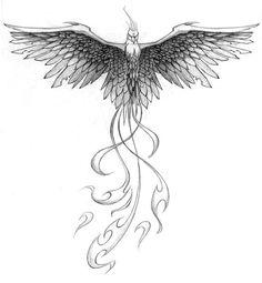 Fantasy Phoenix Tattoo Design