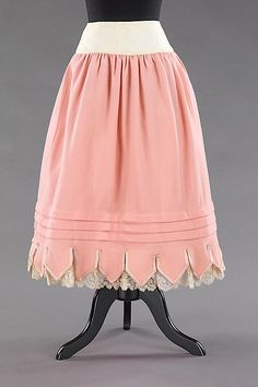 Petticoat, wool, silk and cotton, 1880-90, American.