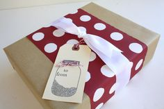 Gift Wrap My Order, Holiday Gift Wrap for Apple White, Red and White Gift Wrapping Add On, Gift Tag, Mason Jar, Polka Dots. $6.95, via Etsy.