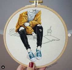 """Amazing thread paintings from Scotland based embroidery artist Jolly Hoops """"Girl sitting on the ground"""", ©️ Jolly Hoops art artist jollyhoops embroidery threadpainting fashion scotland tornjeans Simple Embroidery, Hand Embroidery Stitches, Modern Embroidery, Embroidery Hoop Art, Hand Embroidery Designs, Cross Stitch Embroidery, Geometric Embroidery, Indian Embroidery, Cross Stitches"""