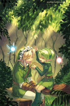 Link and Saria  I wonder who link would choose Zelda or Saria