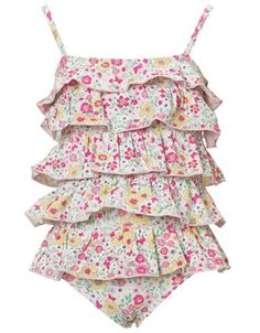 This baby swimsuit is a cute choice for your little girl. There are full ditsy printed tiers on the body of the swimsuit, ensured to allow her to stand out