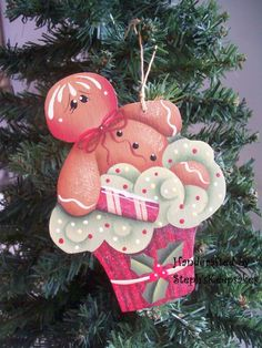 Wooden Handpainted  ChristmasGinger And Mint by stephskeepsakes, $7.25