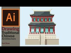 Designing a Traditional East Asian Building in Adobe illustrator | Fast Drawing - YouTube