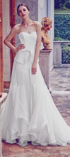 giuseppe papini 2017 (positano) strapless sweetheart sheath wedding dress tulle overskirt mv