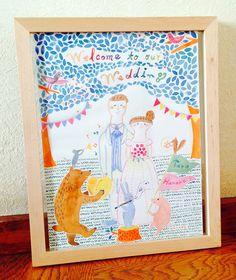 結婚式に、結婚記念日に…。素敵なウェルカムボードを作りませんか?•水彩で写真のようなイラストを描きます*•「Welcome ...|ハンドメイド、手作り、手仕事品の通販・販売・購入ならCreema。