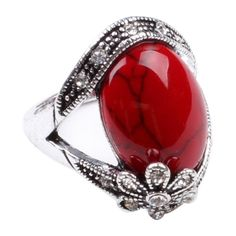 CA Flower Style Red Turquoise Silver Fashion Women's Ring Jewelry