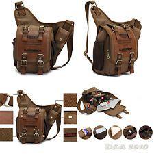 Mens Boys Vintage Canvas Leather Shoulder Military Messenger Briefcases MXS Bag