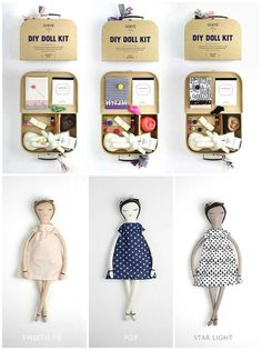 Handmade Doll Kits with a Social Mission. For each doll purchased, one is donated. By Dumyé Diy Doll Kit, Kit Diy, Craft Kits For Kids, Diy For Kids, Crafts For Kids, Craft Ideas, Creative Kids, Creative Crafts, Diy Crafts