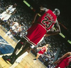 Michael Jordan stands on the block during Game 6 of the 1998 NBA Finals. Jordan dropped 45 points in the game to rally the Bulls to a series-clinching victory.
