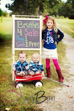 "Love the idea of Calvin having sign ""Sisters For Sale! Buy one get one free !"" Girls in box/basket/wagon"