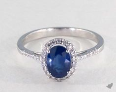18K White Gold - 1.20ct  - Blue Engagement Ring
