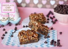 Chocolate Chip Cookie Pecan Pie Bars... Can't wait to make these!