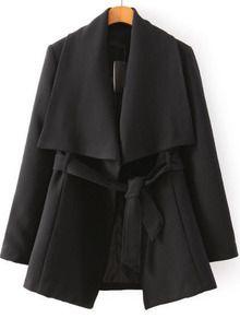 veste en revers avec ceinture -Noir