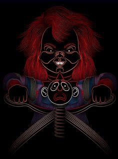 Chucky by Patrick Seymour, via Behance Horror Icons, Horror Movie Posters, Movie Poster Art, Horror Films, Horror Art, Chucky Movies, Horror Monsters, Retro Videos, Horror House