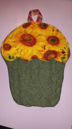 Sunflower Potholder Cupcake shaped potholder by SewPinkDragon