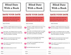"""A """"Rate Your Date"""" slip is put inside each one of the Blind Date With a Book titles. I printed these slips onto pink paper to make them a little more festive and colorful. When the slips are filled out, the patron can turn them in for their chance to win a prize at the end of the program (in our case the end of February). Library Science, Library Activities, Activities For Teens, School Library Displays, Middle School Libraries, Teen Programs, Library Programs, Book Tasting, Book Club Books"""