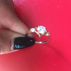 Heart gold filled NWOT. Beautiful heart gold filled ring with cubic zirconia stone Jewelry Rings