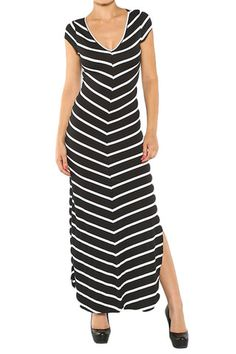 Black Striped Fitted Maxi Dress - On Sale for $38.00 (Reg $47.50) | e-closet