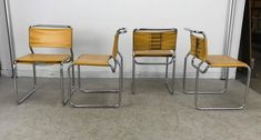 Set of Four Modernist Italian Leather and Chrome Bauhaus Style Sling Chairs 2