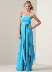 Strapless Crinkle Chiffon Dress with Godets.... but I love it in marine!