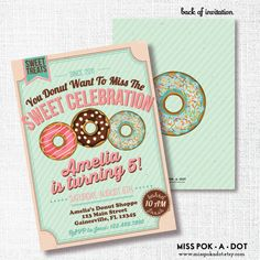 DONUT Birthday party invitation breakfast birthday sweet treats donut want to miss the sweet celebration pajama birthday pj birthday pancake