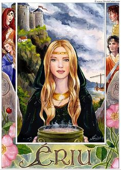 In Irish mythology, Ériu, daughter of Ernmas of the Tuatha Dé Danann, was the eponymous matron goddess of Ireland. Her husband was Mac Gréine ('Son of the Sun').